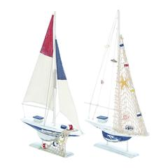 Modern Assorted Wooden Sailing Boat In White Finish - Set Of 2