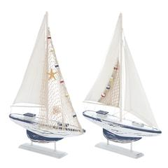 Sea And Aquatic Fauna Assorted Wooden Sailing Boat - Set Of 2
