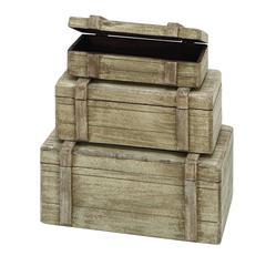 """Wood Boxes Set/3 13"""", 11"""", 9""""W Nautical Maritime Decor"""