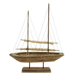 "Benzara Wood Sail Boat 39""H, 31""W Nautical Maritime Decor"
