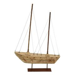 """Benzara Wood Boat 22""""H, 15""""W Nautical Maritime Decor"""