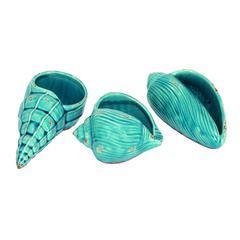 "Ceramic Shell Set/3 8"", 8"", 6""W Nautical Maritime Decor"