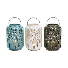 Benzara Beautifully Styled Ceramic Lantern 3 Assorted