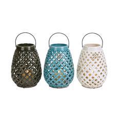 Benzara Checks Style Creative Glossy Ceramic Lantern 3 Assorted
