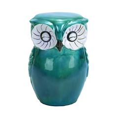 Benzara Long Lasting Ceramic Owl Shaped Stool With Sturdy Construction