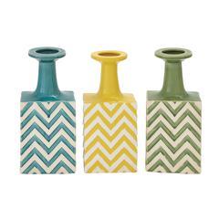 Benzara The Unique Ceramic Stripe Vase 3 Assorted