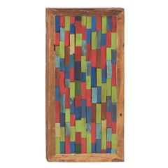 Benzara Colorful And Bright Wood Teak Wall Panel