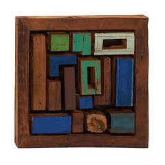 Like Tetris Wood Teak Wall Plaque