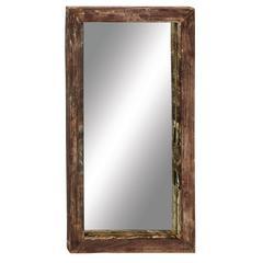 Benzara Antique Like Wood Teak Wall Mirror
