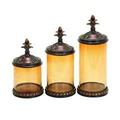 Benzara Polystone Glass Canister Set Of 3 An Affordable Gift