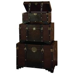 Benzara Wood Leather Trunk S/3 Set Of Three High Utility Leather Trunk