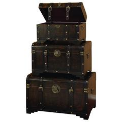 Wood Leather Trunk S/3 Set Of Three Usable Leather Trunk
