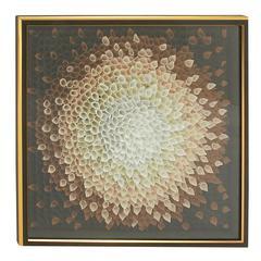 "Flower Petal Design Wood Framed Fabric Art 42""W, 42""H"