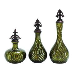 Polished Stone Glass Jar Decor In Solid Black (Set Of 3)