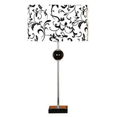Metal Table Lamp With Globe Pot At Middle Of Post