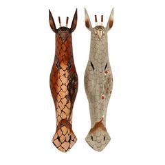 Benzara Assorted Wooden Mask Carved In Elegant Colors - Set Of 2