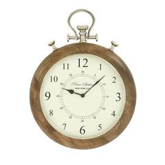 "Benzara Era Wood Metal Wall Clock 15""W, 20""H"