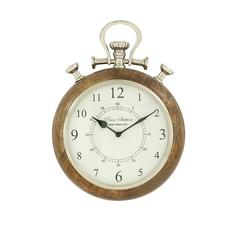 "Benzara Wood Metal Wall Clock 10""W, 14""H"