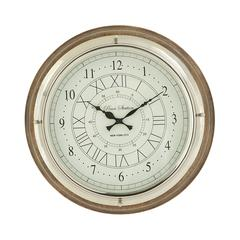 Benzara Round Wood Steel Wall Clock
