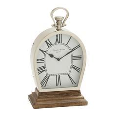 Benzara Stunning Steel Wood Table Clock