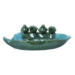 Benzara Ceramic Bird Basin With Attractive Detail In Glossy Green Finish