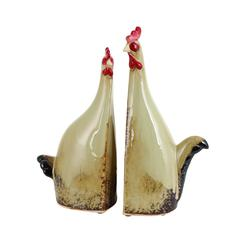 Benzara Carbonized Ceramic Rooster With True Colors - Set Of 2