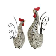 Ceramic Metal Rooster With Spotted Black Pattern - Set Of 2