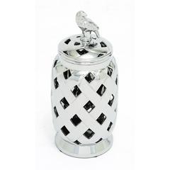 Stunning Tibetan Ceramic Silver Jar