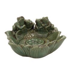 Benzara The Cool Ceramic Frog Bird Feeder