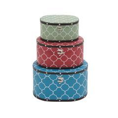 Benzara Multicolored Attractive Patterned Wood Vinyl Box