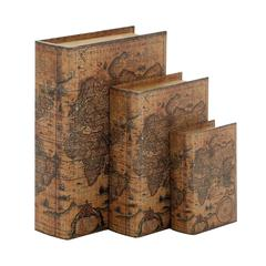 Wood Faux Leather Book Box Set Of 3