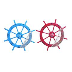 Benzara Wood Ships Wheel 2 Assorted With Red And Blue Colors
