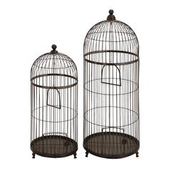 "Benzara Metal Bird Cage Set/2 42"", 32""H Garden Decor"