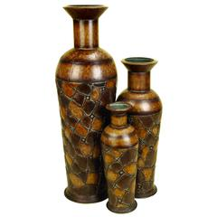 Benzara Metal Vase Set Of 3 Vases A Refreshing Table Decor