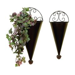 Metal Wall Planter S/2 Portable Plantation Decor