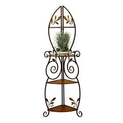 Metal Wood Corner Rack With Three Deck
