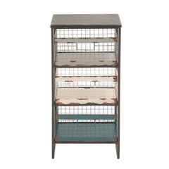 Benzara Rustic Metal Wood Storage Rack