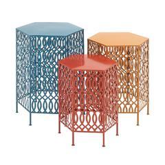 Benzara Bright And Beautiful Metal Table Set Of 3