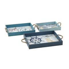 Blue Marine Wood Rope Tray Set Of 3