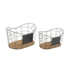 Benzara Set Of 2 Amazing Metal Wood Basket
