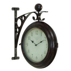 Benzara Metal Wall 2 Side Clock Designed With Antique Look