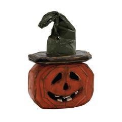 "Benzara Scary Wood Metal Pumpkin 12""W, 18"""