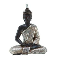 8 Inches Wide Polystone Buddha With Black With Silver Robe