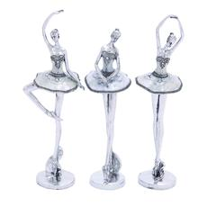 Beautiful And Mesmerizing Silver Polystone Ballet Dancer Assorted Set Of Three