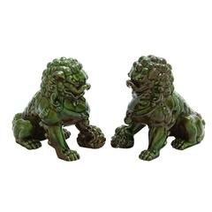 Benzara Decorative Ceramic Chinese Lions Set Of Two