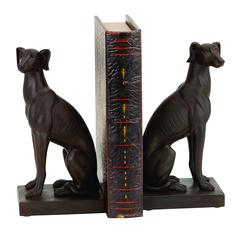 Benzara Polystone Dog Bookend Pair Designed For Elite Class