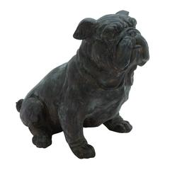 Antique Poly Stone Sitting Bulldog Statue