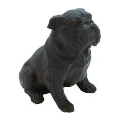 Poly Stone Sitting Bulldog Garden Statue