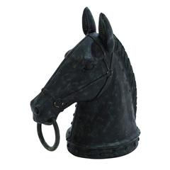 Benzara Decorative Poly Stone Horse Head With Hammered Nail Pattern And Mouth Ring