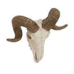 Big And Bold Polystone Wall Ram Skull